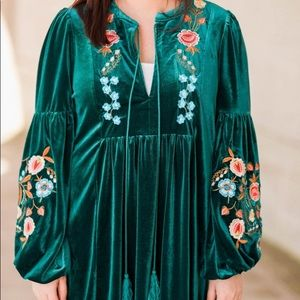 Green Velvet Floral Embroidered Dress